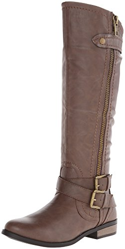 Rampage Women's Hansel Zipper and Buckle Knee-High Riding Boot,Brown Sm Brown Smooth,8.5 B(M) Regular Calf