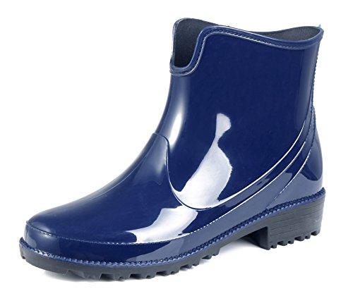 Unie Shoes Couleur Femme Caoutchouc Ageemi Flat Imperméables Bleu Bottes qI6fwRq