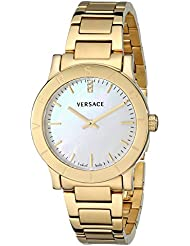 Versace Womens VQA050000 Acron Diamond-Accented Gold-Plated Watch