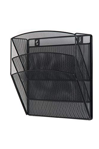 Klickpick Office Hanging Files Wall Mounted Metal Mesh Document File Organizer Magazine Holder Rack Organizer 3 Tier Section Racks Multipurpose Use to Display Files, Magazine, Newspapers (3t Black)