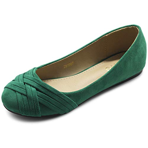 Ollio Women's Ballet Shoe Cute Casual Comfort Flat ZM1987(7 B(M) US, Green) (Shoes Green Flat)