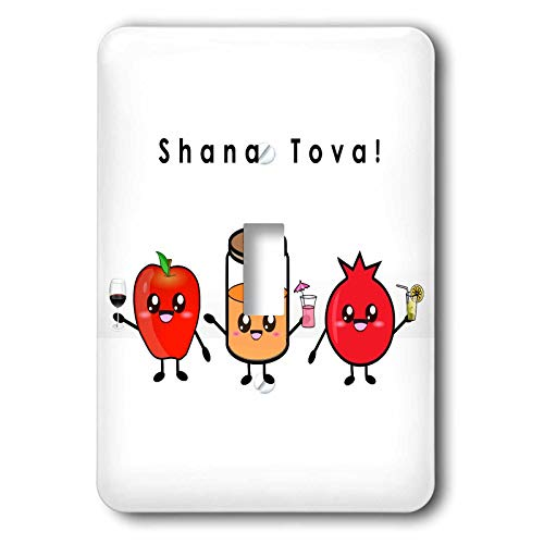 3dRose InspirationzStore - Judaica - Shana Tova - Cute Cartoon Rosh HaShanah greeting Happy Jewish New Year - single toggle switch (lsp_318149_1)
