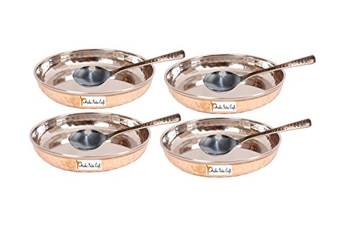 Prisha India Craft Copper Dessert Serving Plate with Spoon Set   Set of 4, Gold