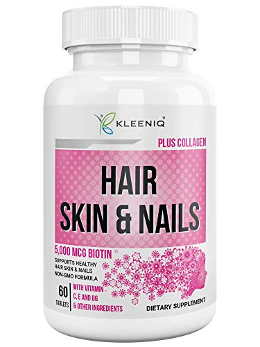 Hair Skin & Nails Supplement, KLEENIQTM with Biotin 5000 mcg, Hydrolyzed Collagen Type 1 &3, Multi-Vitamins, Calcium, Zinc & More, Non-GMO Formula, Dietary Supplement for Men & Women