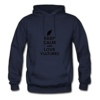 Keep Calm And Love Vultures Navy Customized Women Informal Hoody - X-large