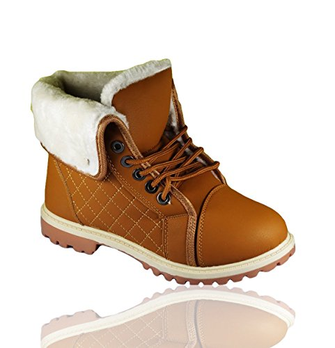 RoMaAn'S IDeal FaShIoN Women Ladies Turnover Lace Up Army Combat Warm Buckle Fur Line Ankle Boot Size 3 Yellow