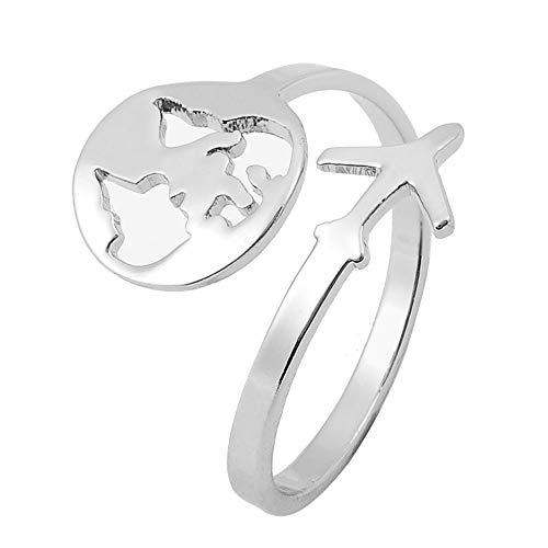 MANZHEN Tiny Map Airplane Plane Rings Adjustable Open Ring Travel Gifts for Women Girls (Silver)
