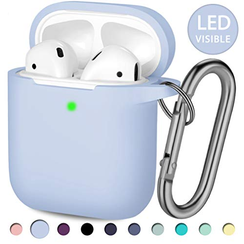 Hamile AirPods Case Protective Cover, [Front LED Visible] Shockproof Soft Silicone Case Cover Skin Compatible for Apple AirPods 2 & 1, with Keychain (Lilac)
