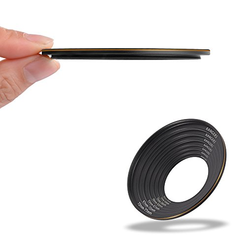 2.5mm Ultra-thin 49-77mm Step Up Ring, Rangers Aluminium Adapter Ring for Canon, Nikon, Pentax, Sony, Leica, Fuji, Lumix, Olympus