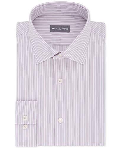 Michael Kors Men's Classic/Regular Fit Non-Iron Airsoft Stretch Performance Stripe Dress Shirt Pink 16 34-35