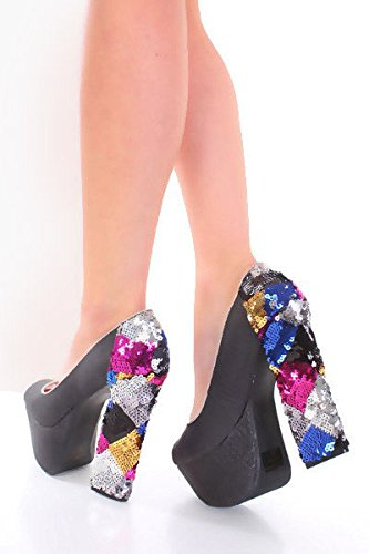 Molto Sexy Nero Fucsia Nero Con Texture Ecopelle Peep Toe Paillettes Scarpe Con Tacco Nero