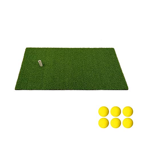 Golf Mat Residential Practice Hitting Mat 12''x24'' Golf Swing Mat with Rubber Tee Realistic Synthetic Turf Grass Golf Pad Portable Training Equipment(Free 6 Ball and 1Tee)
