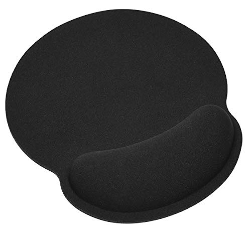 Gaming Mouse Pad with Gel Wrist Rest Support Protect Your Wrists, Memory Foam Mouse Pad with Wrist Non-Slip Rubber Base Desk Pad for Computer Laptop Mac, Gaming, Office, Travel(Black) ()