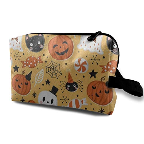 (Makeup Bag Halloween Holiday Ghost Pumpkin Bat Portable Travel Multifunction Beauty Bags Customized Organizer For Women)