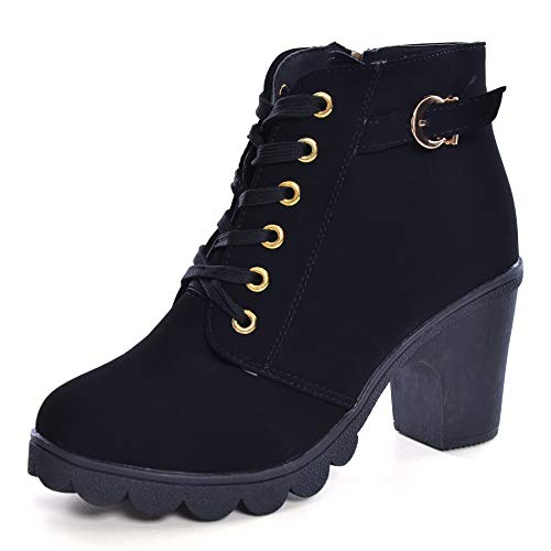 Womens Ankle Boots Lace Up High Heel Comfort Fashion Buckle Martin Boots Autumn Winter Womens ShoesUS 4.5Black