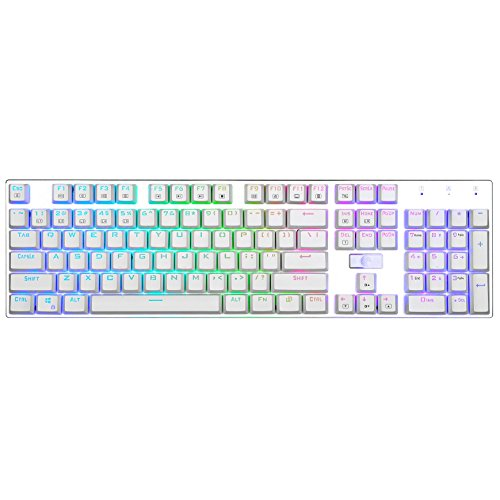 E Element Z-88 RGB Mechanical Gaming Keyboard, Red Switch – Linear & Quiet, Programmable RGB Backlit, Water Resistant, 104 Keys Anti-Ghosting for Mac PC, White