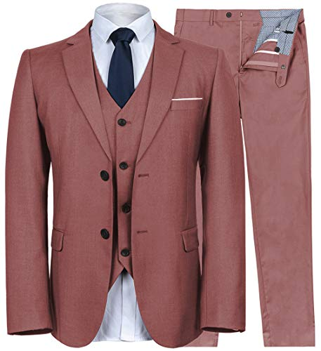 YIMANIE Men's Suit Slim Fit 2 Button 3 Piece Suits Jacket Vest & Trousers Pink