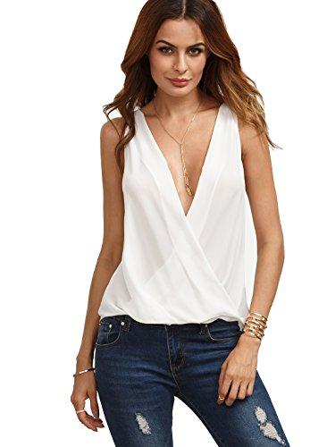 (Verdusa Women's Deep V Neck Cut Out Back Sleeveless Blouse Tank Top White Large)