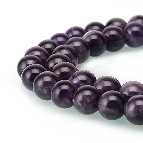 BRCbeads Amethyst Crystal Gemstone Loose Beads Natural Round 8mm Purple Energy Stone Healing Power for Jewelry (8 Genuine Amethyst Stones)