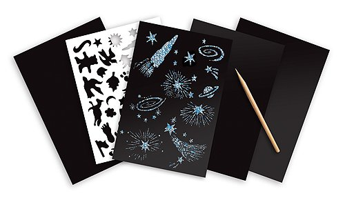 Scratch Art 4-Sheet Pack Melissa /& Doug Silver Holographic FREE Scratch Art Mini-Pad Bundle 58032