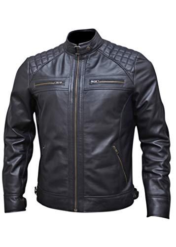 (Black Leather Jacket Men for Bikers | Vintage Brown Lambskin Mens Motorcycle Jackets (Black, Large (Body Chest 42