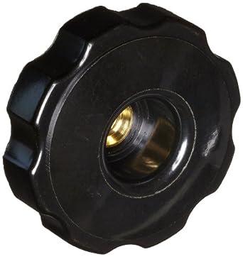 "DimcoGray Black Phenolic Fluted Torque Knob Female, Brass Insert: 3/8-16"" Thread x 5/8"" Depth, 2-3/8"" Diameter x 1-9/32"" Height x 1-1/4"" Hub Dia x 5/8' Hub Length  (Pack of 10)"