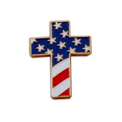 US Flag Store Christian Cross Special Design Pin with USA Flag