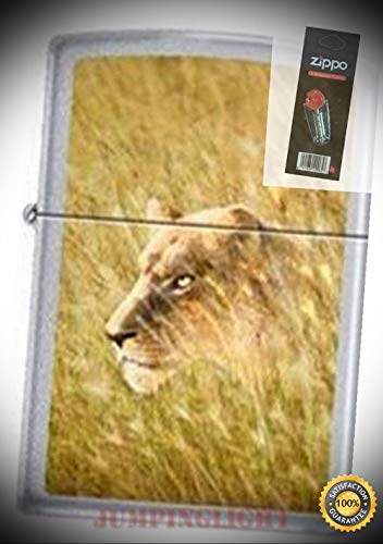 0406 Lioness Satin Chrome Discontinued - Rare Lighter with Flint Pack - Premium Lighter Fluid (Comes Unfilled) - Made in USA! -