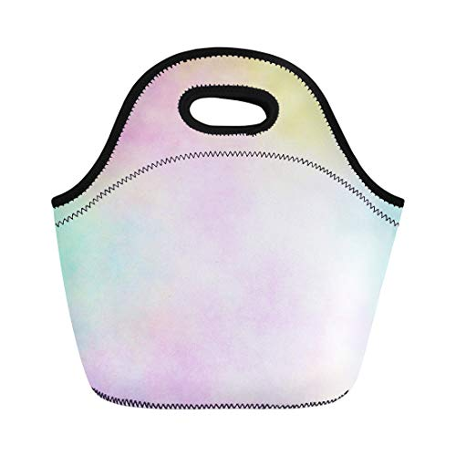 Semtomn Neoprene Lunch Tote Bag Yellow Rainbow Pastel Watercolor Airbrush Blue Cyan Magenta Pale Reusable Cooler Bags Insulated Thermal Picnic Handbag for Travel,School,Outdoors,Work
