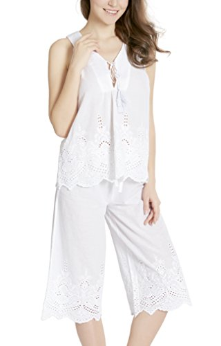 (Ink+Ivy Summer Pajamas Set for Women - 100% Cotton Capri Pajama, Camisole V Neck Lounge Capris Pjs Sets, White L)