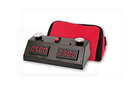 - ZMart Fun II Digital Chess Clock - BLACK/RED with Wedge Bag