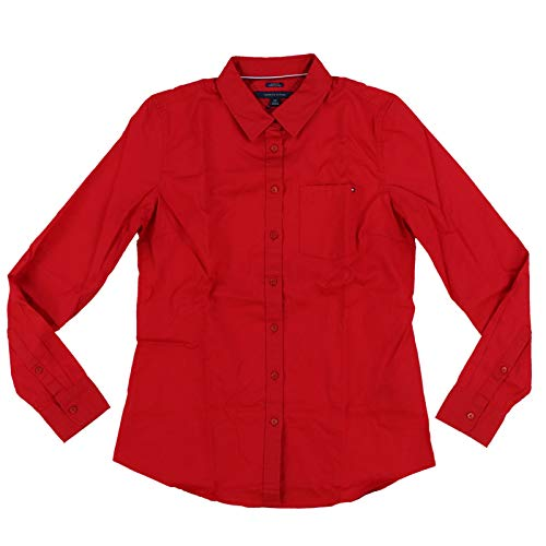 Tommy Hilfiger Womens Classic Fit Button Up Shirt (XX-Large, Red)