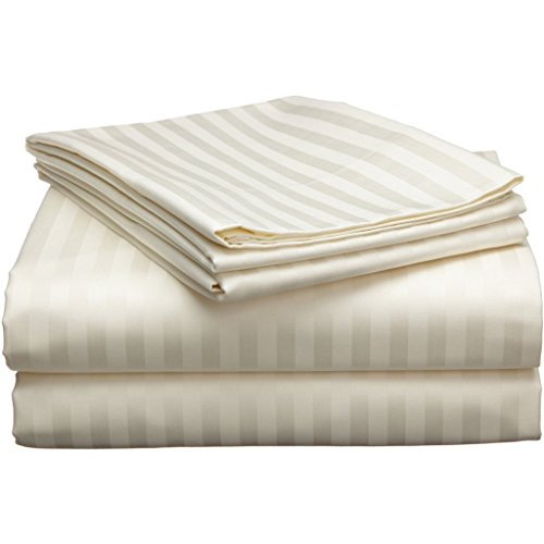 Rajlinen Ivory Stripe 4 Piece Attached with Fitted Sheet Waterbed Sheet Set King/California King (15 Inch Deep)Highest Quality Breathable 1000-Thread-Count Ultra Soft Rich Egyptian ()