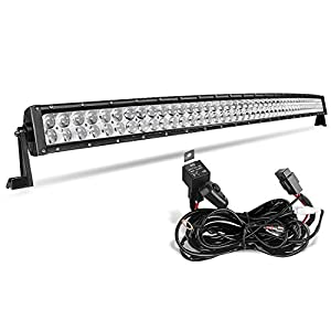 AUTOSAVER88 4D 50 Inch Curved LED Light Bar 400W with 8ft Wiring Harness, 400W 40000LM Offroad Driving Fog Lamp Marine Boating Lights IP68 WATERPROOF Spot & Flood Combo Beam, 2 Year Warranty