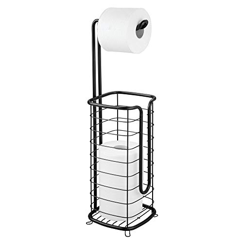 (mDesign Free Standing Toilet Paper Holder Stand and Dispenser, with Storage for 3 Spare Rolls of Toilet Tissue While Dispensing 1 Roll - for Bathrooms/Powder Rooms - Holds Mega Rolls - Black)