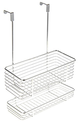 PowerTRC Chrome Storage with Two Shelves, Kitchen Organizer Basket, Over The Cabinet Rack by PowerTRC