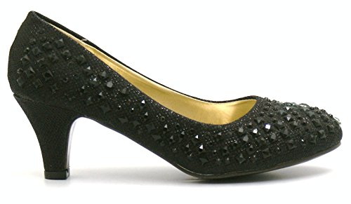 Womens Ladies Shimmer Diamante Sparkly Slip On Low Heel Wedding Bridesmaid Party Evening Dressy Court Shoes - A60 Black 99kdlza
