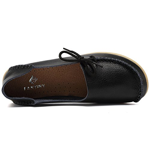 CIOR Womens Genuine Leather Loafers Casual Moccasin Driving Shoes Indoor Flat Slip-on Slippers 1black twKLDHp