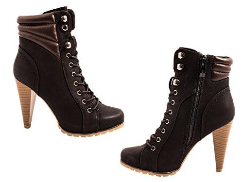 Elara Damen Stiefeletten | Stiefel Trichterabsatz | Lederoptik negro