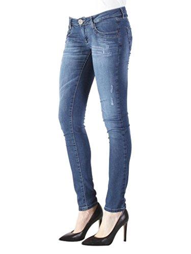 Carrera Vestibilità Blu Bassa Scuro Donna Per Jeans 777 Vita Tessuto Modello Look Dritto Denim 104 Skinny Elasticizzato Lavaggio raOr1wnq