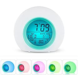 Leagway Alarm Clock for Kids Bedroom Adults, Wake Up Light Digital Clock With 6 Natural Sound Indoor Temperature Calendar 7 Colors Changing LED Night Light Beside Lamp, Great Gift Decor (Blue)