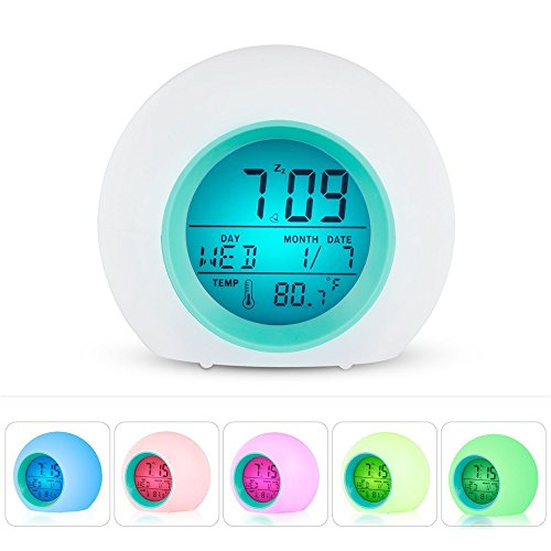 Leagway Alarm Clock for Kids Bedroom Adults, Wake Up Light Digital Clock With 6 Natural Sound Indoor Temperature Calendar 7 Colors Changing LED Night Light Beside Lamp, Great Gift Decor (Blue) by Leagway