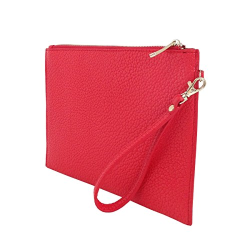 Flat with Wristlet Card Red Faux Sleeves Leather Uqawc4F
