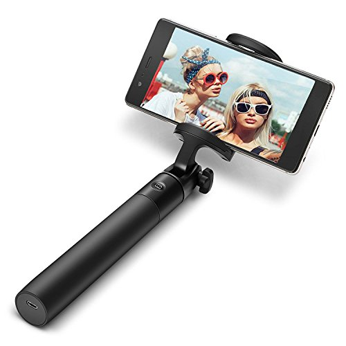 Selfie Stick Bluetooth, BlitzWolf Mini Extendable Selfie Stick with Built-in Bluetooth Remote with 20-Hour Working Time for iPhone X/8/8 Plus/7/7 Plus/6s, Galaxy S7/S8/S9, Huawei and More