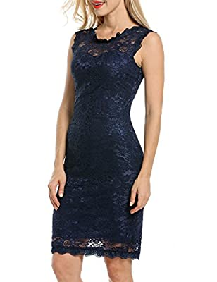 Acevog Women's Elegant Floral Sleeveless Lace Cocktail Evening Dress