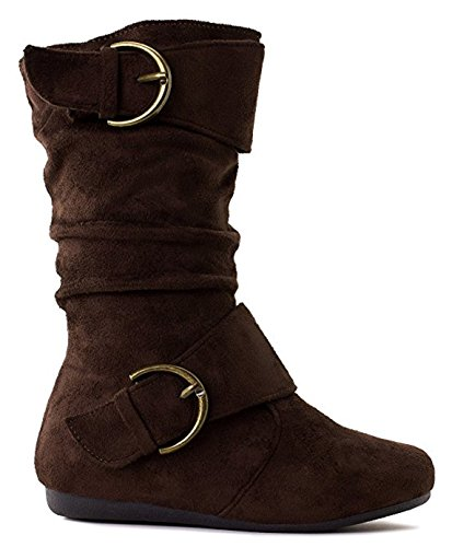 EyesOnStyle New Kids Girls Slouch Comf Tall Midcalf Suede Winter Buckle Boots Shoes (13, BrownTam41K) …