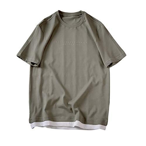 (Men T-Shirts,Classic Basic Short Sleeve Loose-Fit Short-Sleeve Crewneck Shirt Blouse (M, Army Green))
