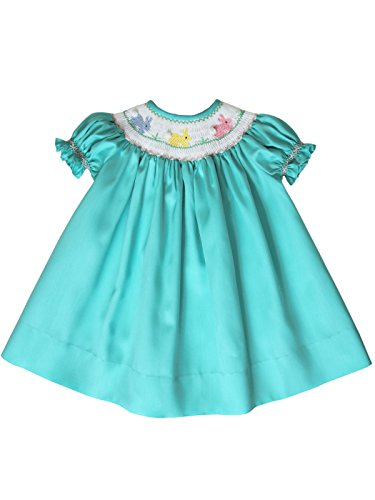 Aquamarine Infant Girls Bishop Dress Hand Smocked Easter Bunny