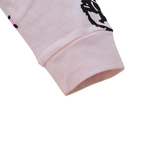 Omiky® Kleinkind-Baby-Jungen-Mädchen-langes Hülsen-Kätzchen-Druck-Spielanzug-Overall-Kleidung Rosa