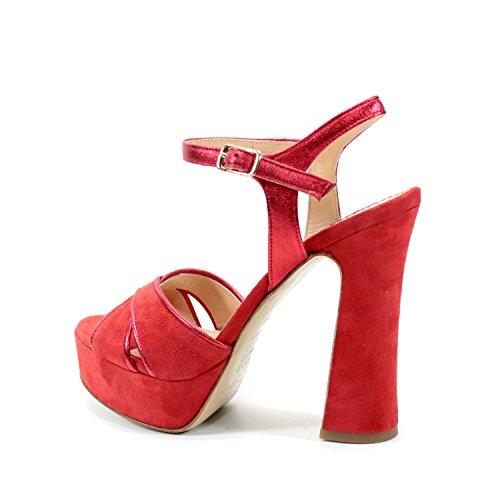 Sandalias Rojo Zapatos para Mujer Elegantes Tacón Ancho 13 cm. Plataforma 4  cm. Hecho a Mano en Italia 528a897e4177